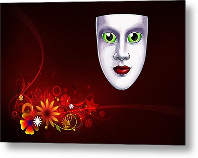 Mardi Gras Mask Red Vines Metal Print