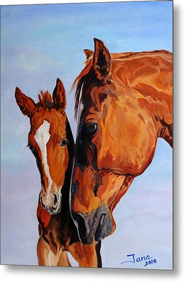 Mare And Foal Metal Print by Jana Goode