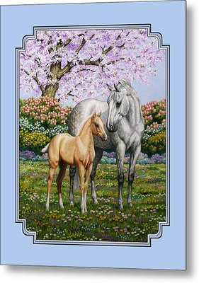 Mare And Foal Pillow Blue Metal Print by Crista Forest