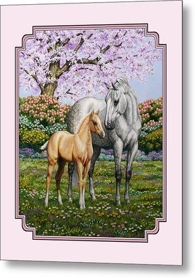 Mare And Foal Pillow Pink Metal Print by Crista Forest