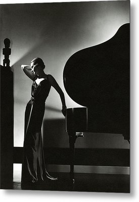 Margaret Horan Posing Beside A Piano Metal Print