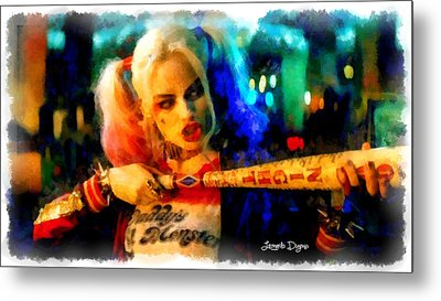 Margot Robbie Playing Harley Quinn  - Aquarell Style -  - Da Metal Print by Leonardo Digenio