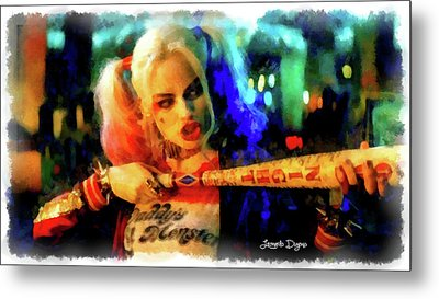 Margot Robbie Playing Harley Quinn - Aquarell Style Metal Print by Leonardo Digenio