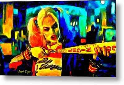 Margot Robbie Playing Harley Quinn  - Van Gogh Style -  - Da Metal Print by Leonardo Digenio