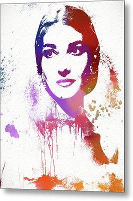 Maria Callas Paint Splatter Metal Print