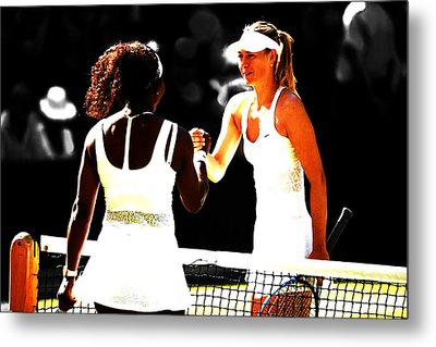 Maria Sharapova And Serena Williams Rivalry Metal Print by Brian Reaves