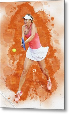 Maria Sharapova Of Russia Celebrates After Winning Metal Print by Don Kuing