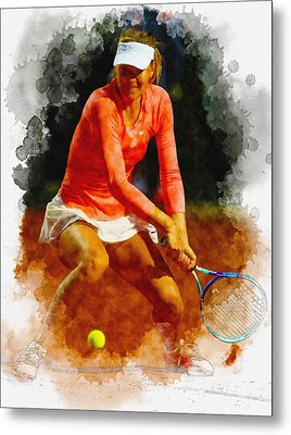 Maria Sharapova Of Russia In Action During Her Match Against Vic Metal Print by Don Kuing