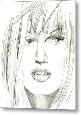 Metal Print featuring the drawing Marie by Michael McKenzie