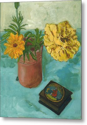 Marigolds And June Bugs Metal Print by Laura Wilson