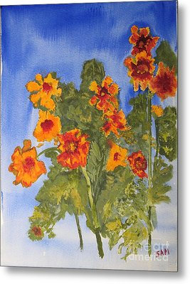 Metal Print featuring the painting Marigolds by Sandy McIntire