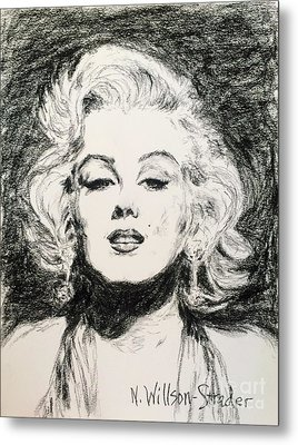 Marilyn, Black And White Metal Print