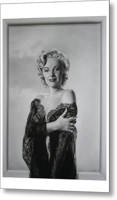 Marilyn In Lace Metal Print by Terry Stephens