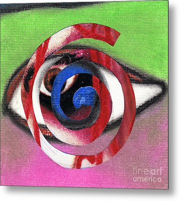 Marilyn Manson Eye Spiral Metal Print by Christine Perry