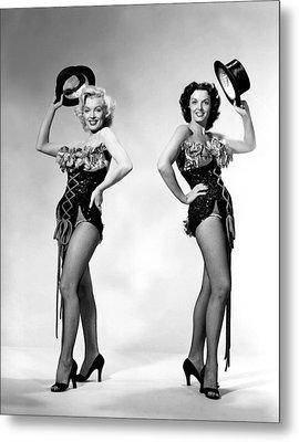 Marilyn Monroe And Jane Russell Metal Print by American School