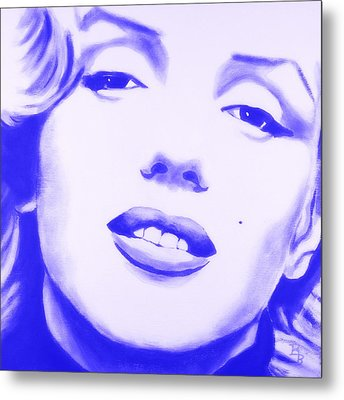 Metal Print featuring the painting Marilyn Monroe - Blue Tint by Bob Baker