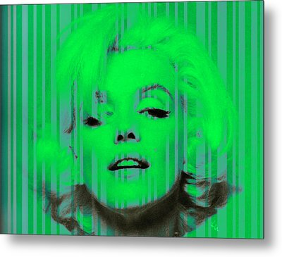 Marilyn Monroe In Green Metal Print by Kim Gauge