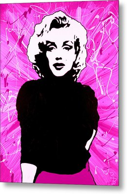 Metal Print featuring the painting Marilyn Monroe In Hot Pink by Bob Baker