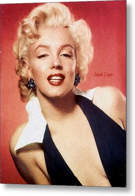 Marilyn Monroe  - Oil Style -  - Da Metal Print by Leonardo Digenio