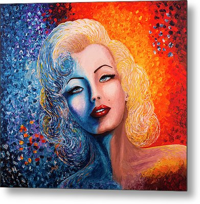Metal Print featuring the painting Marilyn Monroe Original Acrylic Palette Knife Painting by Georgeta Blanaru