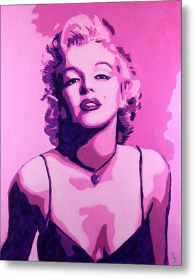 Metal Print featuring the painting Marilyn Monroe - Pink by Bob Baker