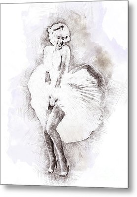 Marilyn Monroe Portrait 03 Metal Print by Pablo Romero