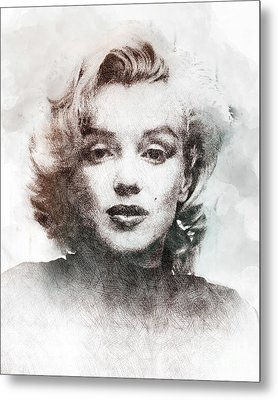 Marilyn Monroe Portrait 04 Metal Print by Pablo Romero