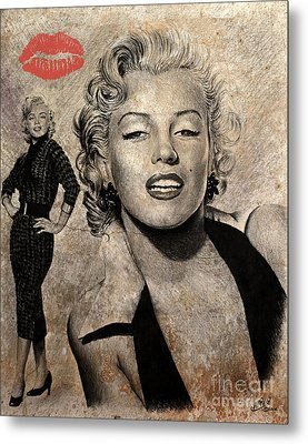 Marilyn Monroe Red Lips Edition Metal Print by Andrew Read