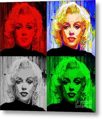 Marilyn Monroe - Quad. Pop Art Metal Print