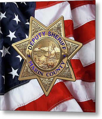 Marin County Sheriff Department - Deputy Sheriff Badge Over American Flag Metal Print by Serge Averbukh