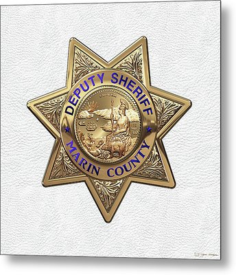 Marin County Sheriff Department - Deputy Sheriff Badge Over White Leather Metal Print by Serge Averbukh