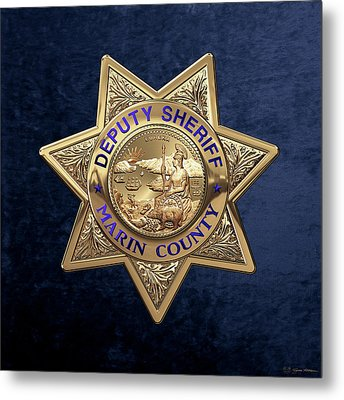 Marin County Sheriff's Department - Deputy Sheriff's Badge Over Blue Velvet Metal Print by Serge Averbukh