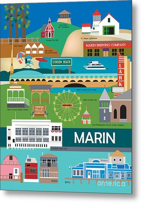 Marin County Vertical Wall Art By Loose Petals Metal Print by Karen Young