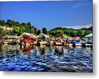 Marina At Cheat Lake Clear Day Metal Print by Dan Friend