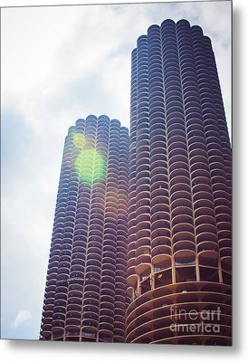 Marina City Towers In The Sun Metal Print by Sonja Quintero