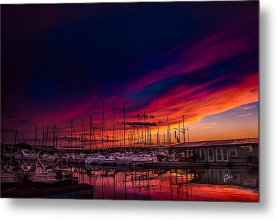 Marina Sunset Metal Print by TK Goforth
