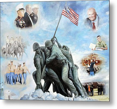 Marine Corps Art Academy Commemoration Oil Painting By Todd Krasovetz Metal Print by Todd Krasovetz