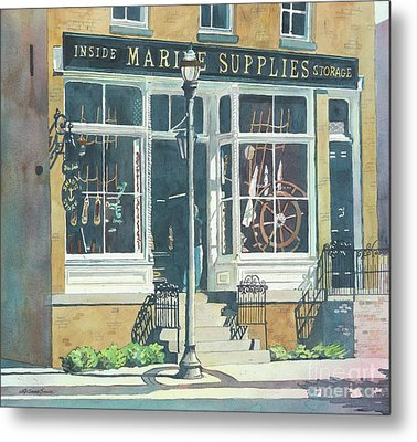 Metal Print featuring the painting Marine Supply Store by LeAnne Sowa