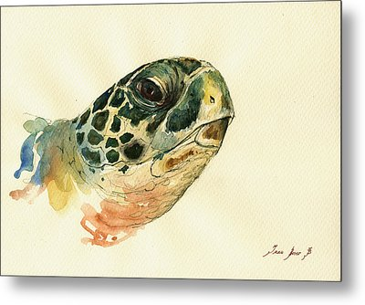 Marine Turtle Metal Print by Juan  Bosco