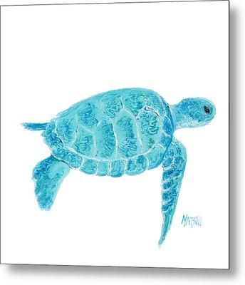 Marine Turtle Painting On White Metal Print by Jan Matson