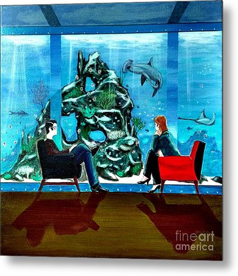 Marinelife Observing Couple Sitting In Chairs Metal Print by John Lyes