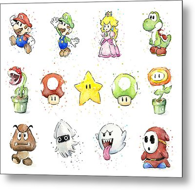 Mario Characters In Watercolor Metal Print