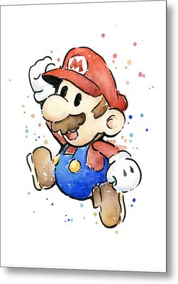 Mario Watercolor Fan Art Metal Print by Olga Shvartsur