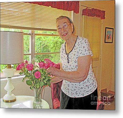 Marion Loves Roses Metal Print by Fred Jinkins