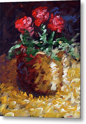 Mark Webster - Abstract Electric Roses Acrylic Still Life Painting Metal Print by Mark Webster