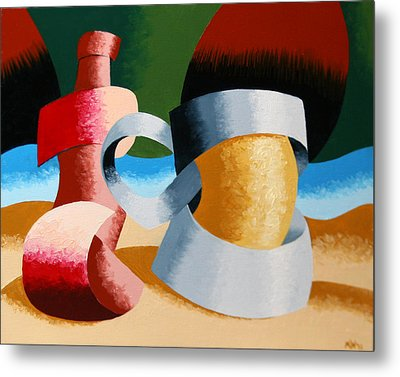 Metal Print featuring the painting Mark Webster - Abstract Futurist Beer Mug And Bottle by Mark Webster