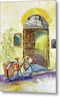 Metal Print featuring the painting Market Day In Lucca by Bonnie Rinier