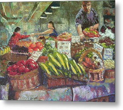 Market Stacker Metal Print by Mary McInnis