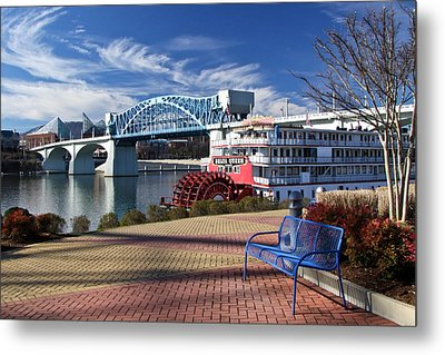 Market Street Bridge With The Delta Queen From Coolidge Park Metal Print by Tom and Pat Cory