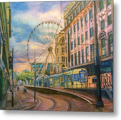 Market Street Metrolink Tramstop With The Manchester Wheel  Metal Print